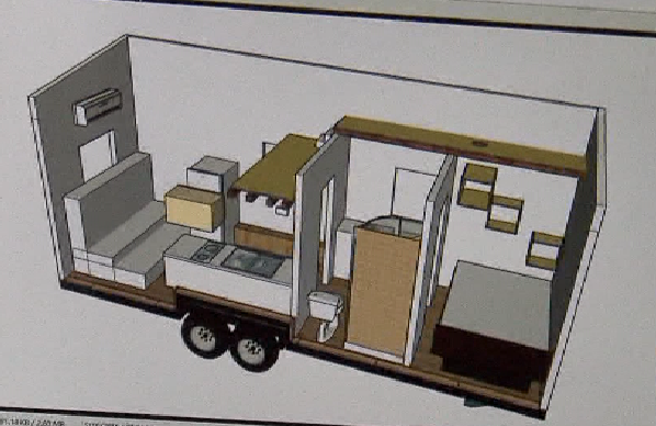 The plans for Silver Diamond's tiny house, designed with Tiny SMART House in Albany, August 8, 2016 (KOIN)
