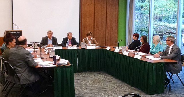 Oregon senators Jeff Merkley and Ron Wyden sit next to US Rep. Suzanne Bonamici at a PSU event about the issue of campus sexual assaults, October 18, 2016 (KOIN)