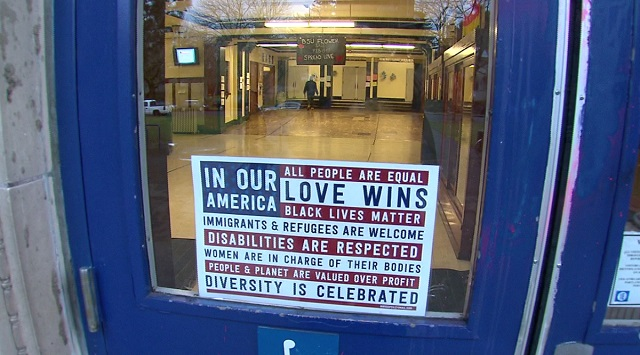 A sign on the door at Grant High School in Northeast Portland, February 7, 2017 (KOIN)