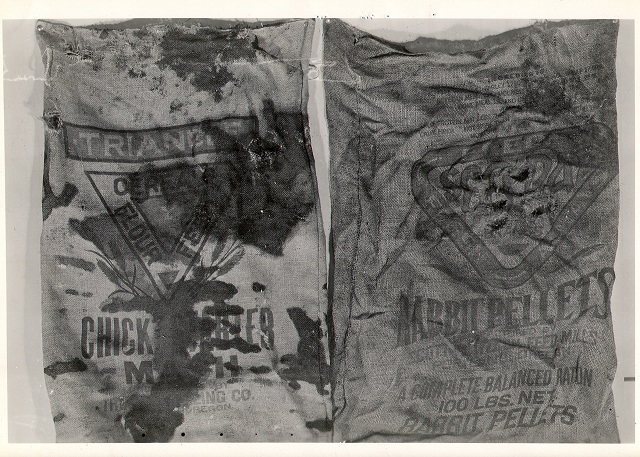 Burlap bags used to wrap body parts of a woman in her 50s found in the Willamette River in 1946. Her identity and murderer have never been found. (Courtesy photo)