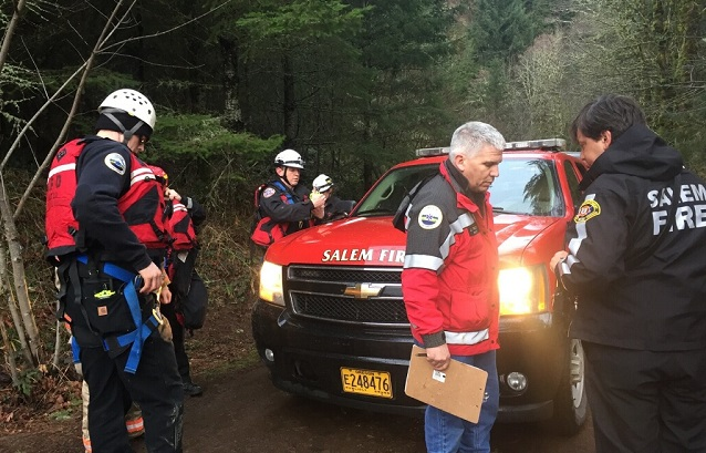 A teenager who fell about 80 feet from the Abiqua Trail Head was rescued and airlifted to Salem Hospital, March 11, 2017 (Marion County Sheriff's Office)