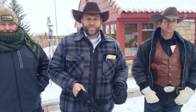 (L-R) Brian Cavalier, Ammon Bundy and Ryan Bundy at the Malheur National Wildlife Refuge, January 2016. They and 5 others were arrested by the FBI on Jan. 26, 2016 (KOIN)