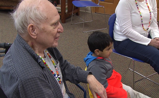 Kids and seniors come together at Gentog daycare in Tigard. (KOIN)
