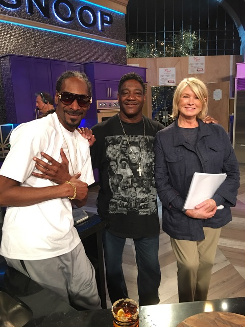 Reo Varnado (center)  with Snoop Dogg and Martha Stewart. (Courtesy of Reo Varnado)