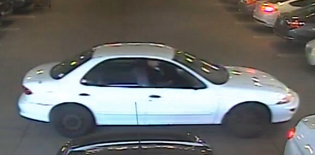 A man seen driving this car is suspected of throwing semen at women in several incidents including one at the Safeway on Barbur Boulevard on April 5. (Security image provided by PPB)