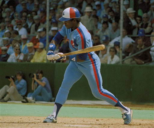 Tim Raines, Montreal Expos outfielder, checks his swing, 1983. (AP Photo)