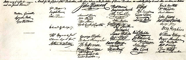 The 56 signatures on the Declaration of Independence