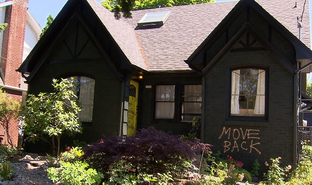 The outside of the couple's Northeast Portland home after it was vandalized, July 2, 2017. (KOIN)