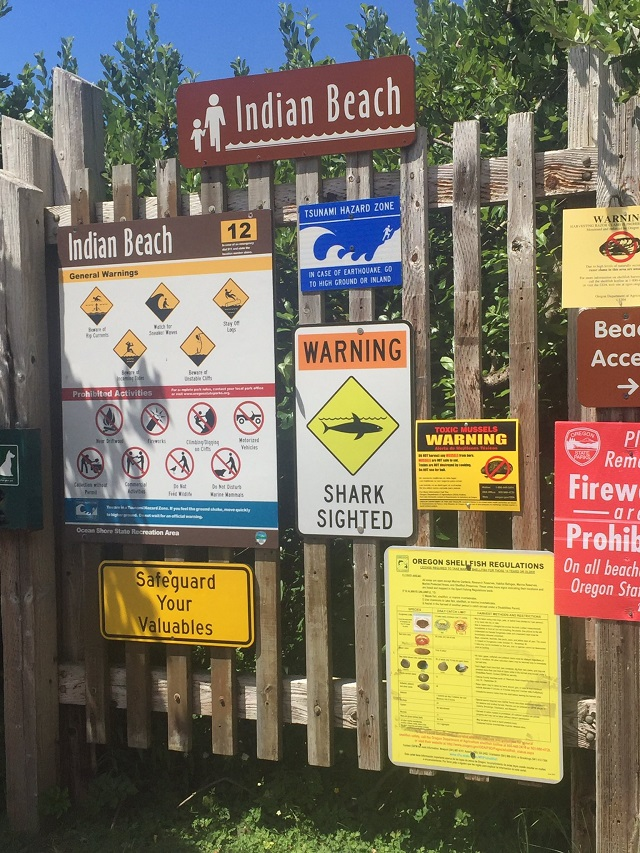 Warning signs posted at Indian Beach near Cannon Beach in July 2017. (KOIN)