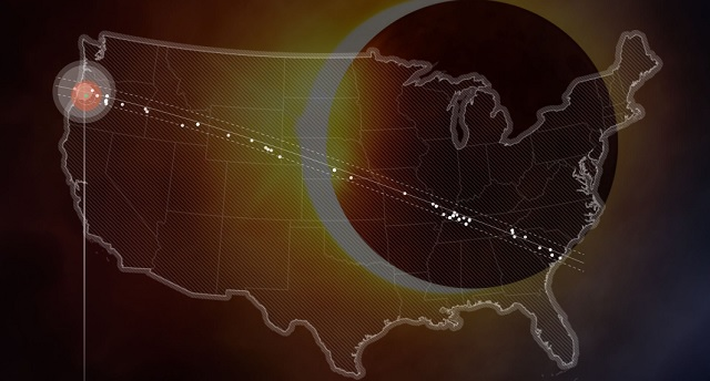 This map shows the path of the solar eclipse across the US, with dots indicating scientific study taking place, July 13, 2017 (Courtesy: Eclipse.stream.live)