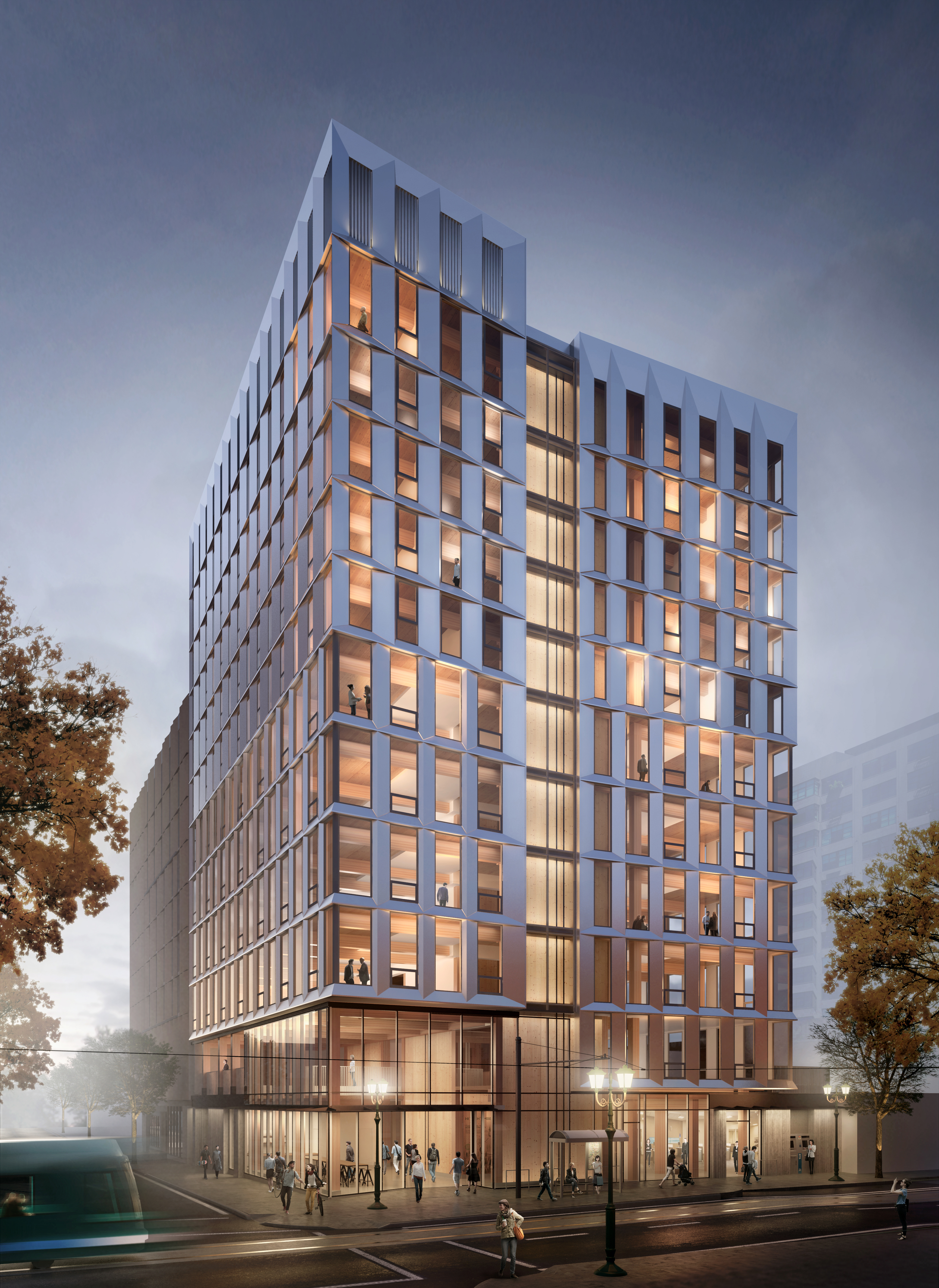 A rendering of the wooden high rise that will be built in NW Portland. (Lever Architecture)
