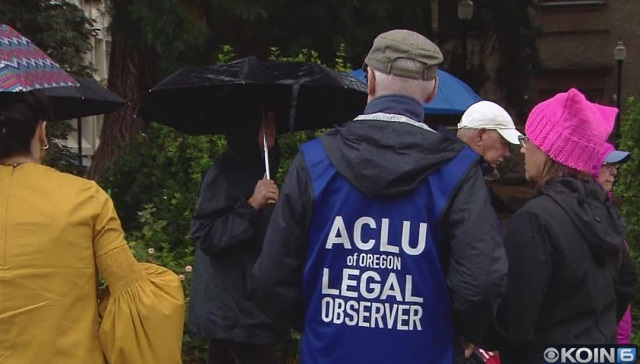 A rally at the Washington County Courthouse in Hillsboro  in support of DACA, brought observers from the ACLU, September 18, 2017 (KOIN)