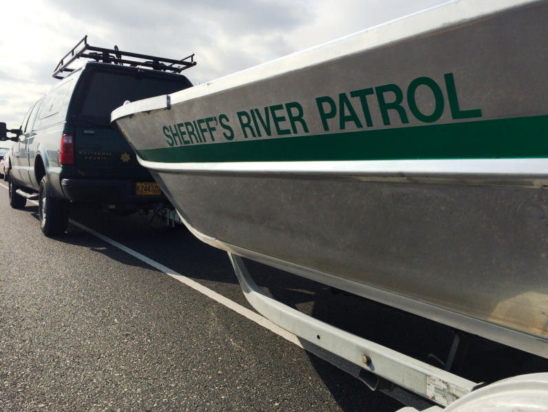 A file photo of a Multnomah County Sheriff's Office boat connected to a trailer. (KOIN)