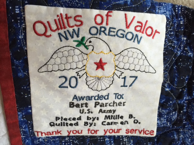 A patch on a Quilt of Valor made by Millie Beach and a team of volunteers to give to the veterans at Holiday Retirement's Edgewood Downs in Beaverton, November 9, 2017 (KOIN)