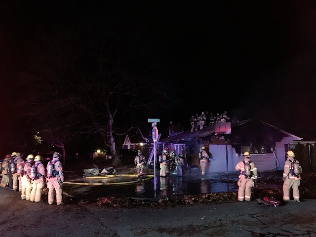 A home on SE 88th and Pardee was damaged by a fire on Nov. 27,  2017. (KOIN)