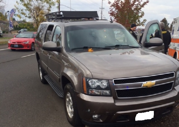 Washington County Sheriff's Deputy John Cage saved a man who was having a seizure while behind the wheel of this moving SUV in Cornelius, November 4, 2017 (Washington County Sheriff's Office)