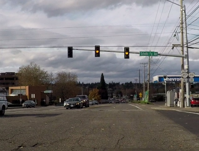 Westbound Hall Boulevard at Scholls Ferry Road has a red light camera that is activated after a 4.5 second yellow light, but it used to be only 4. (KOIN)