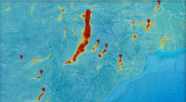 Image released by European Space Agency ESA on Friday, Dec. 1, 2017 shows pollution from power plants in India taken by Copernicus Sentinel-5P on Nov. 10, 2017.