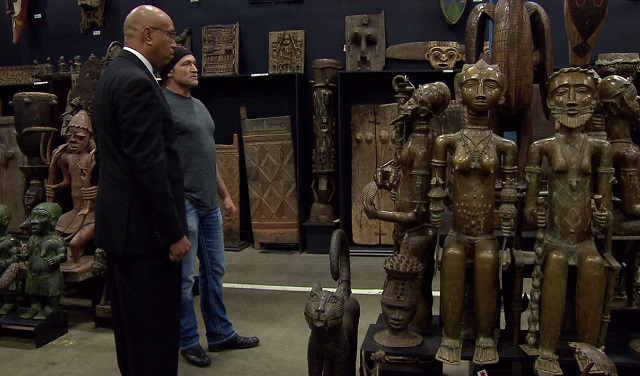 Dave Dahl, the founder of Dave's Killer Bread (pictured here with KOIN 6's Ken Boddie), has one of the largest African Art collections on the West Coast, December 4, 2017. (KOIN)