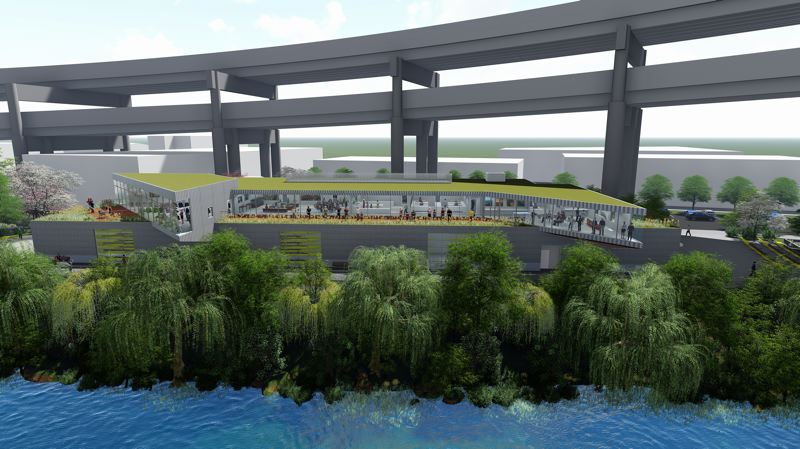 An illustration of how the Portland River Center might appear on the eastbank of the Willamette River.