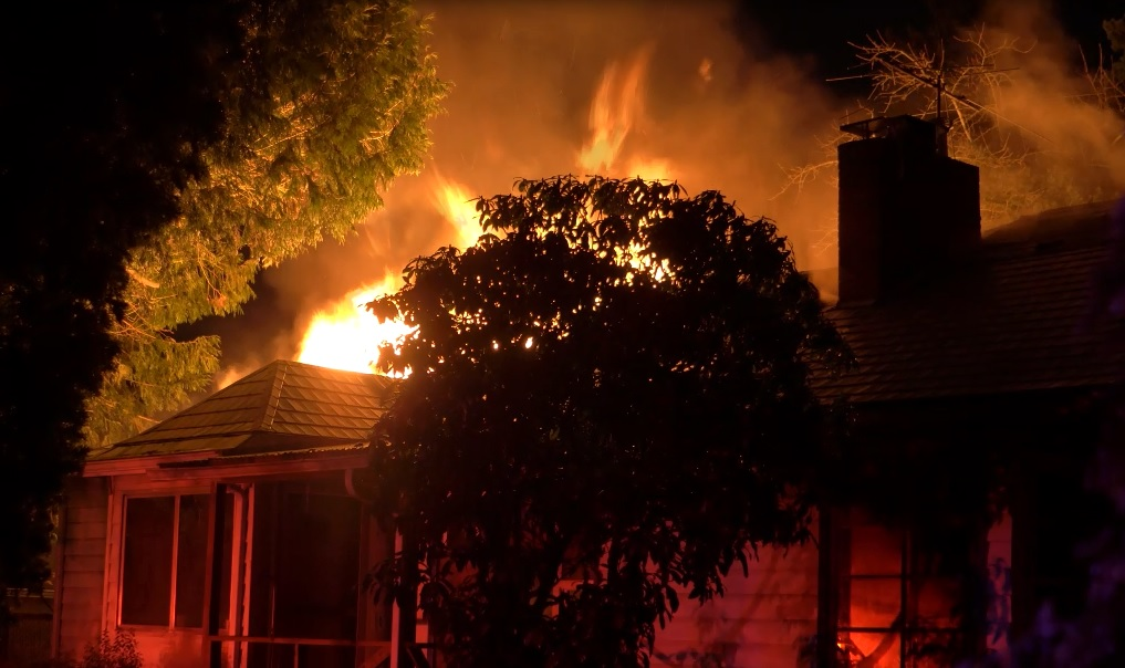 A home on NE 117th Avenue was damaged by a fire, January 30 2018. (KOIN)