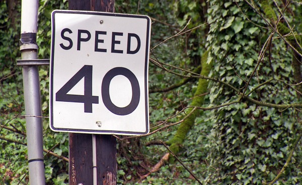 A speed sign in Portland. (KOIN)