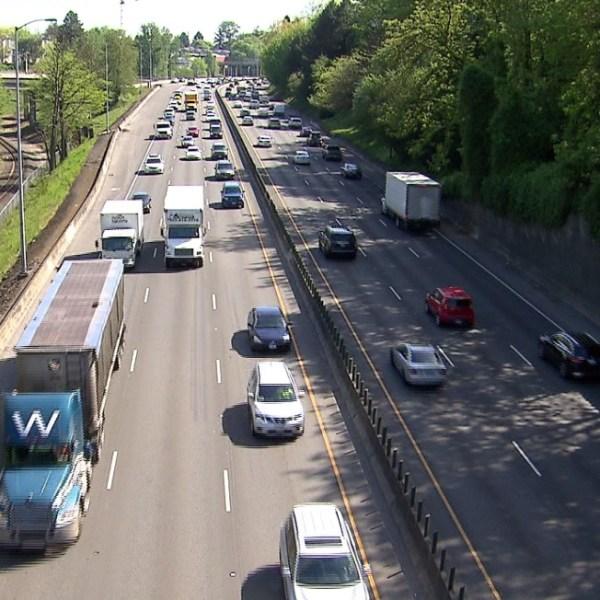 Cars move along I-5 in Portland traffic generic