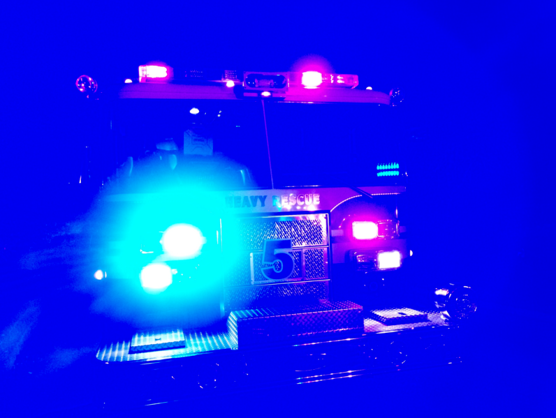 File - Generic Fire Truck with Lights on at Night_197628