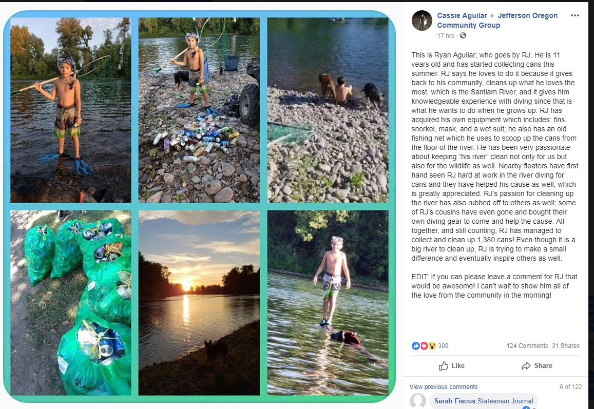 Marion County boy makes cleaning up the river his mission