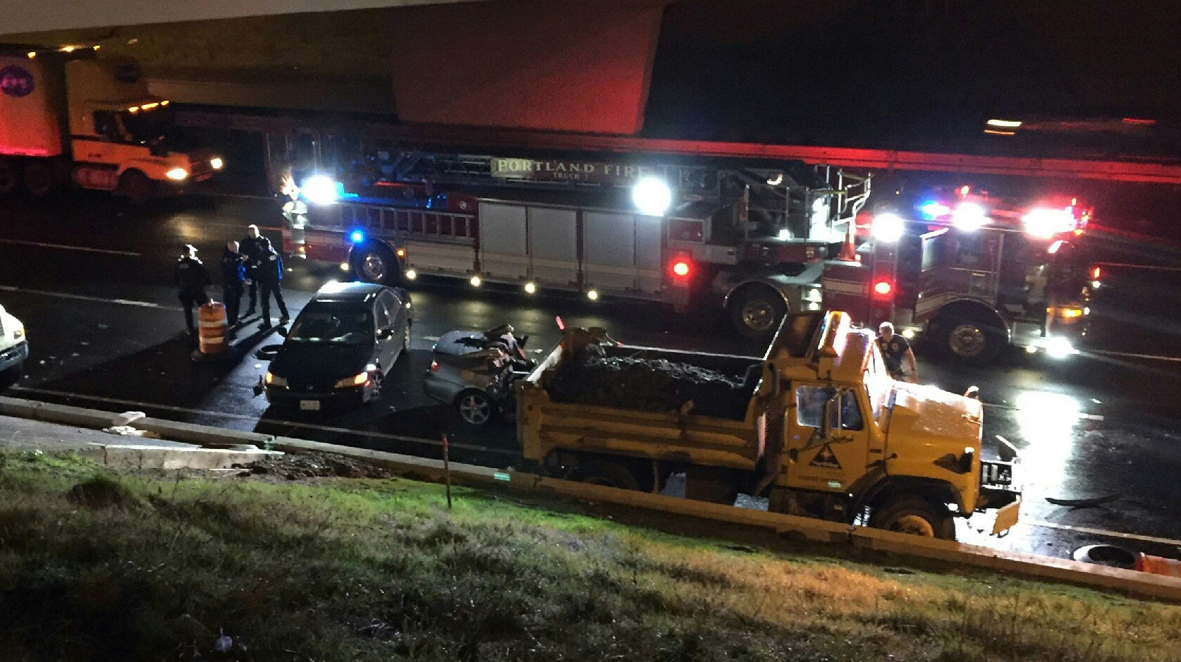 Car crashes in construction zone