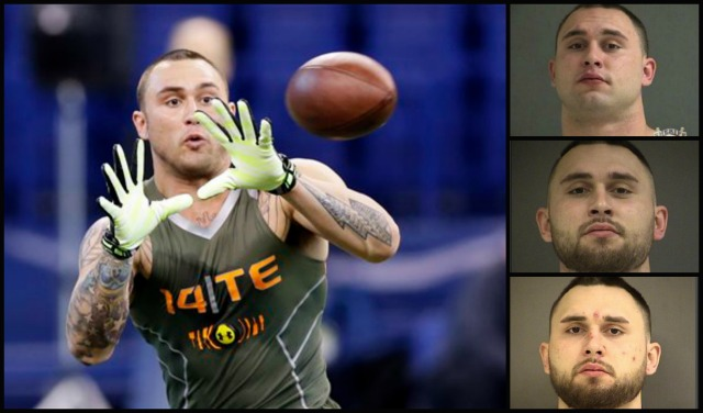 Colt Lyerla, left, at an NFL combine drill in February 2014. Top to bottom, Washington County mug shots from 2014, 2016, 2017