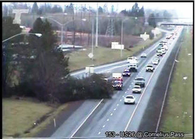 A giant tree fell and snarled traffic on US-26 at Cornelius Pass, Dec. 21, 2015 (ODOT)
