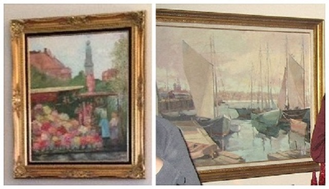 These paintings were stolen in March 2016 from Douglas Darling's home on Hayden Island. May 19, 2016 (Crime Stoppers)
