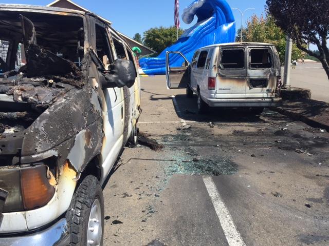 Church vans torched when thief tries to steal gas | KOIN com