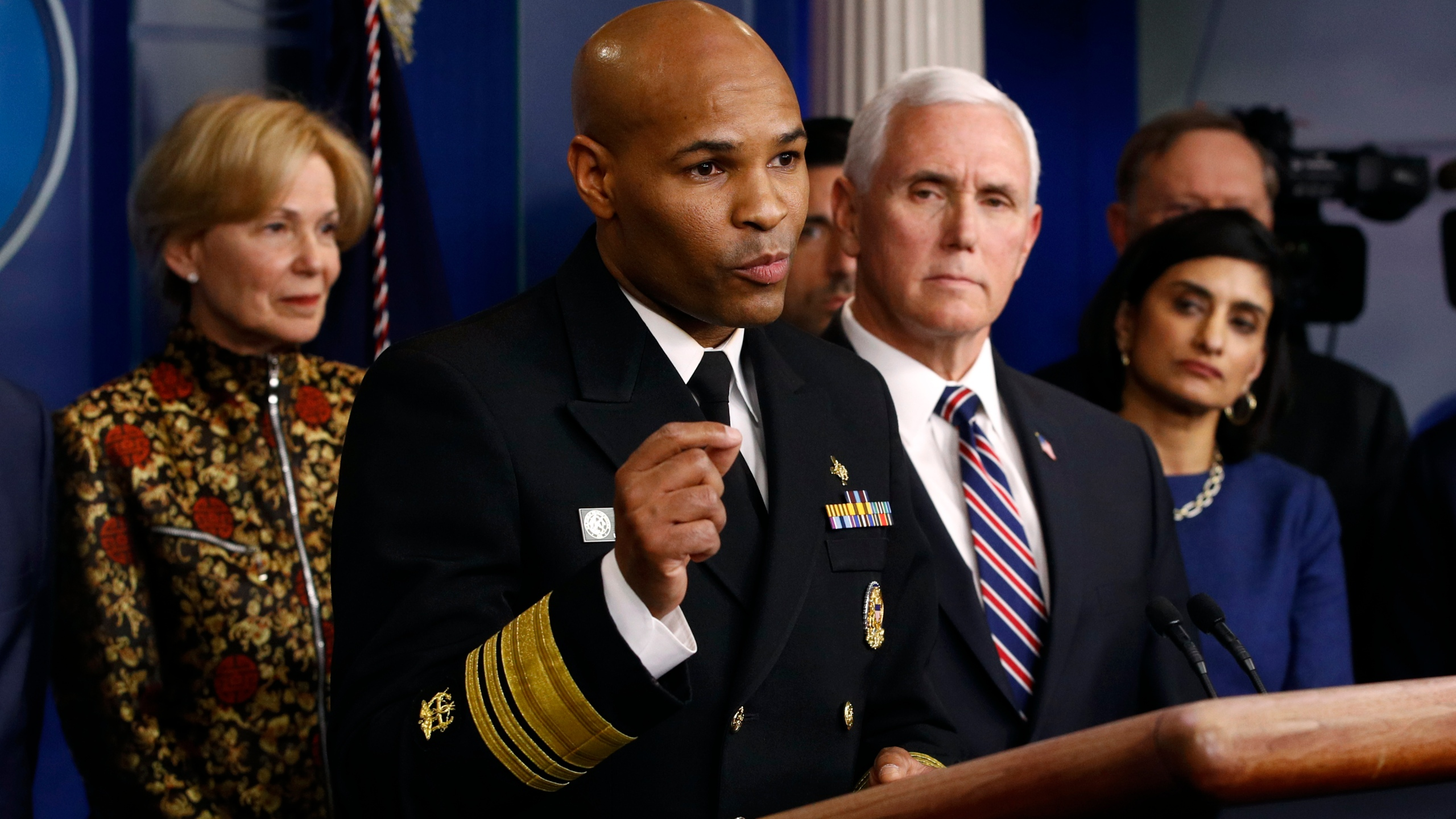 Jerome Adams, Deborah Birx, Seema Verma, Mike Pence