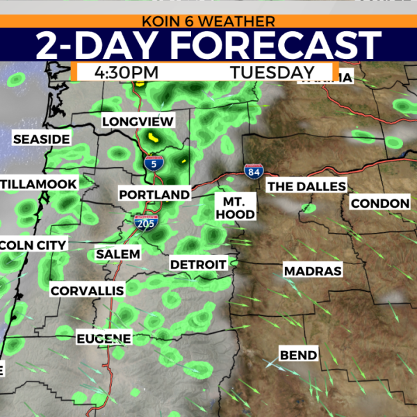 Forecasting rain Tuesday