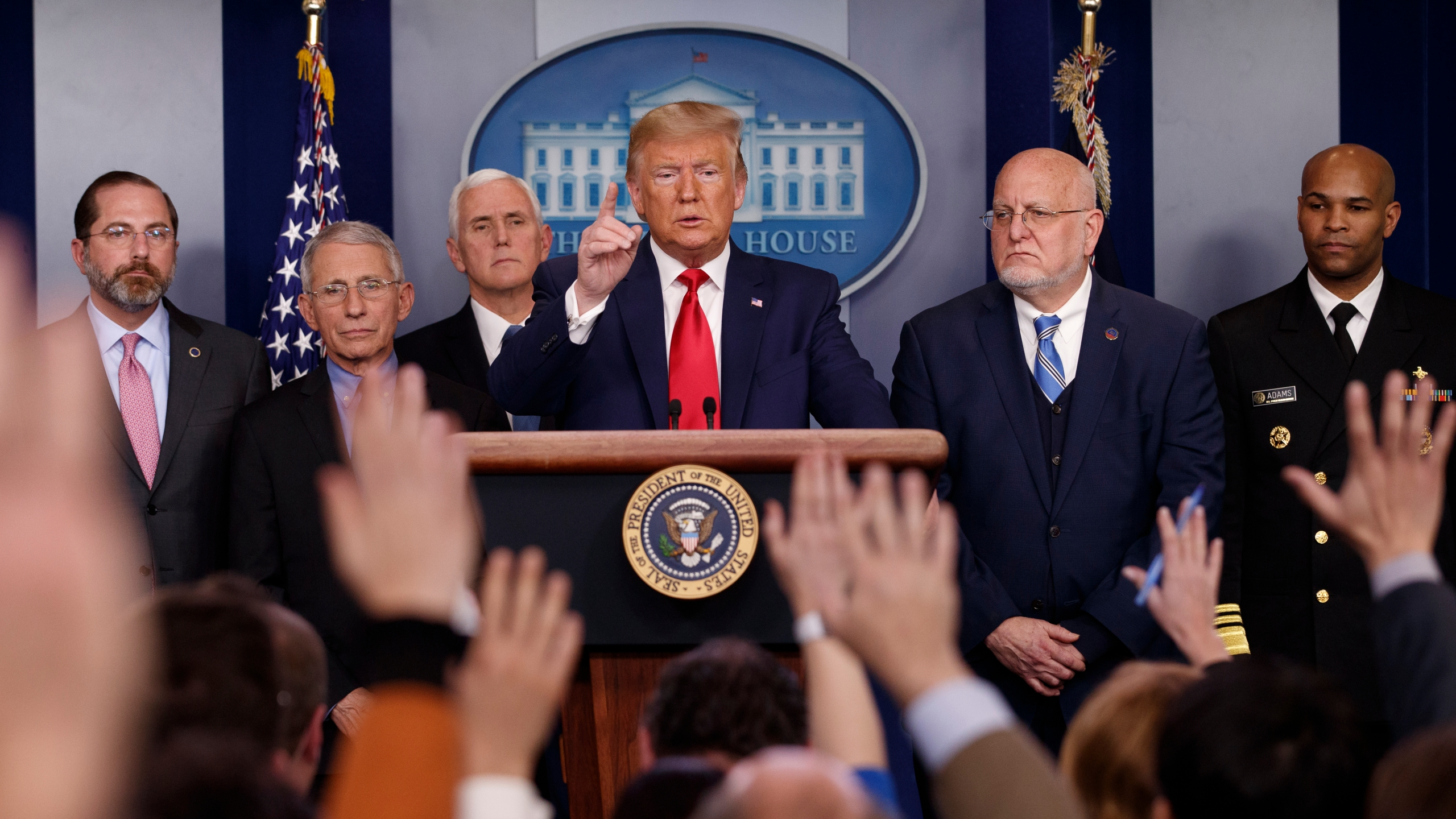 Donald Trump, Mike Pence, Alex Azar, Anthony Fauci, Robert Redfield, Jerome Adams